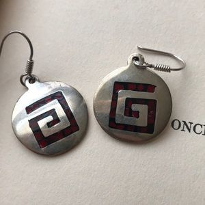 Jewelry - Sterling Red Inlay Earrings